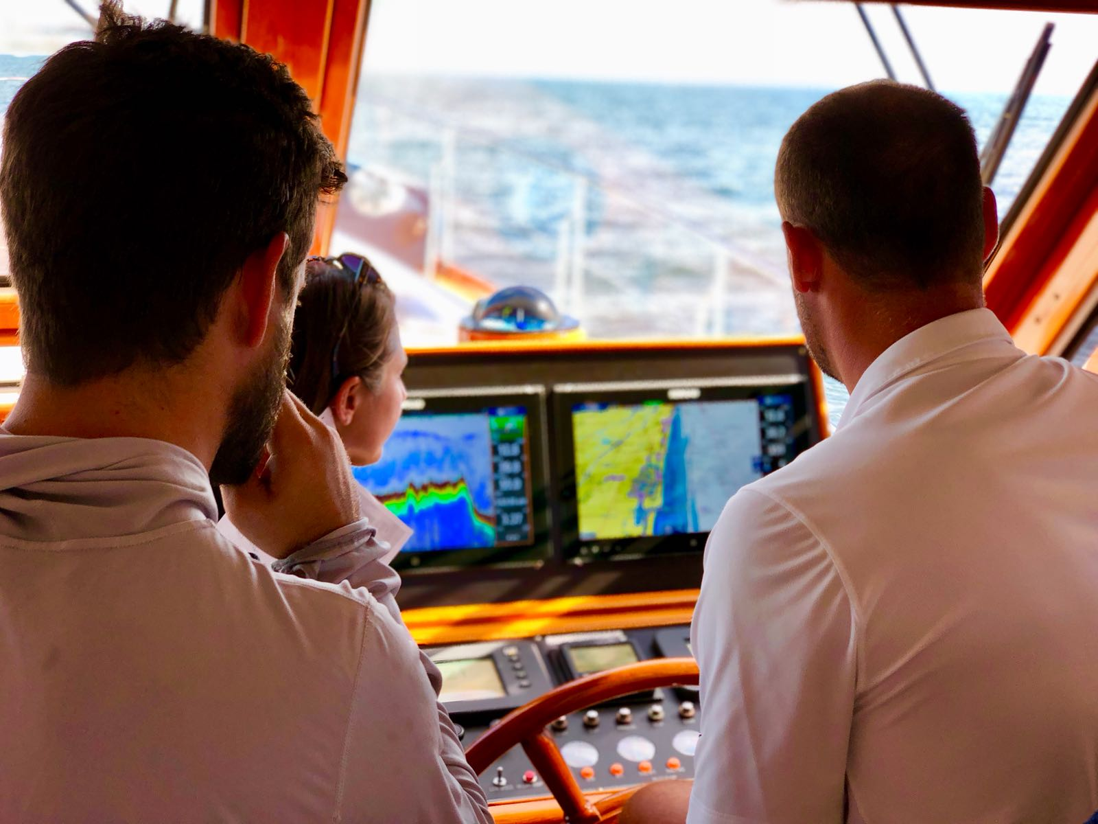 Crew looking at radar